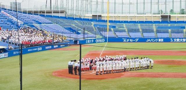高校野球試合前の整列